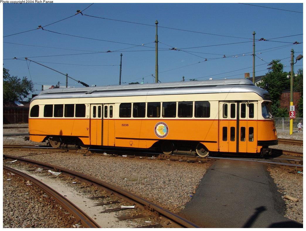 (210k, 1044x788)<br><b>Country:</b> United States<br><b>City:</b> Boston, MA<br><b>System:</b> MBTA<br><b>Line:</b> MBTA Mattapan-Ashmont Line<br><b>Location:</b> Mattapan <br><b>Car:</b> MBTA/BSRy PCC Wartime (Pullman-Standard, 1945-46)  3238 <br><b>Photo by:</b> Richard Panse<br><b>Date:</b> 9/3/2004<br><b>Viewed (this week/total):</b> 1 / 1612