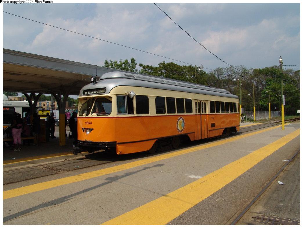 (165k, 1044x788)<br><b>Country:</b> United States<br><b>City:</b> Boston, MA<br><b>System:</b> MBTA<br><b>Line:</b> MBTA Mattapan-Ashmont Line<br><b>Location:</b> Mattapan <br><b>Car:</b> MBTA/BSRy PCC Wartime (Pullman-Standard, 1945-46)  3254 <br><b>Photo by:</b> Richard Panse<br><b>Date:</b> 6/8/2004<br><b>Viewed (this week/total):</b> 1 / 1489