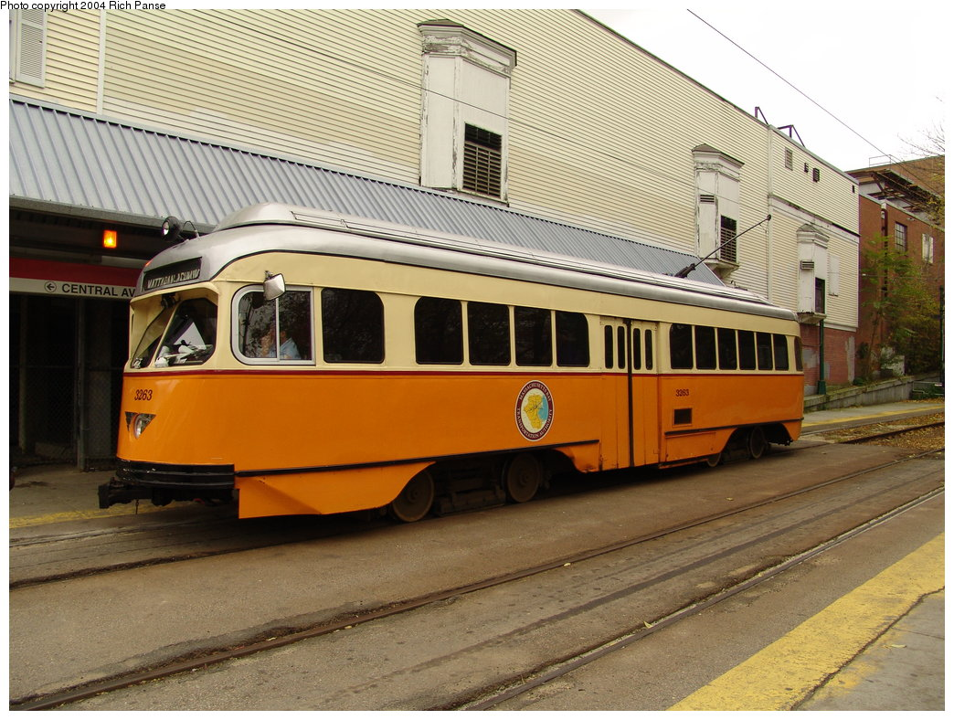 (223k, 1044x788)<br><b>Country:</b> United States<br><b>City:</b> Boston, MA<br><b>System:</b> MBTA<br><b>Line:</b> MBTA Mattapan-Ashmont Line<br><b>Location:</b> Central Avenue <br><b>Car:</b> MBTA/BSRy PCC Wartime (Pullman-Standard, 1945-46)  3263 <br><b>Photo by:</b> Richard Panse<br><b>Date:</b> 10/24/2004<br><b>Viewed (this week/total):</b> 0 / 1706