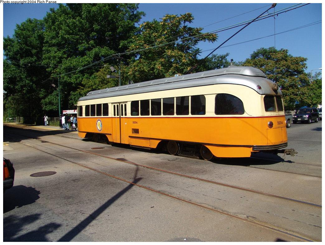 (243k, 1044x788)<br><b>Country:</b> United States<br><b>City:</b> Boston, MA<br><b>System:</b> MBTA<br><b>Line:</b> MBTA Mattapan-Ashmont Line<br><b>Location:</b> Central Avenue <br><b>Car:</b> MBTA/BSRy PCC Wartime (Pullman-Standard, 1945-46)  3254 <br><b>Photo by:</b> Richard Panse<br><b>Date:</b> 9/3/2004<br><b>Viewed (this week/total):</b> 2 / 2472