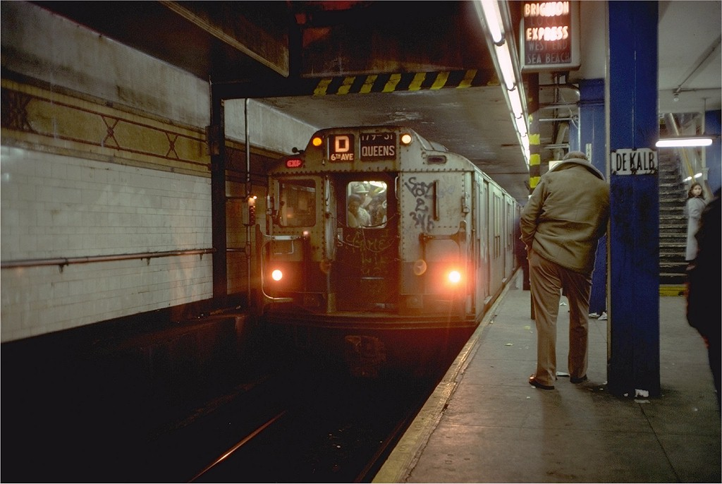 (158k, 1024x686)<br><b>Country:</b> United States<br><b>City:</b> New York<br><b>System:</b> New York City Transit<br><b>Location:</b> DeKalb Avenue<br><b>Route:</b> D<br><b>Car:</b> R-10 (American Car & Foundry, 1948) 3153 <br><b>Photo by:</b> Doug Grotjahn<br><b>Collection of:</b> Joe Testagrose<br><b>Date:</b> 2/10/1978<br><b>Viewed (this week/total):</b> 0 / 6413