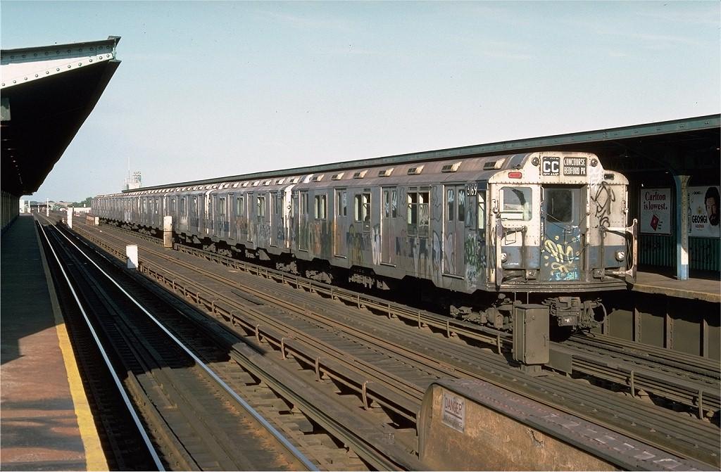 (215k, 1024x671)<br><b>Country:</b> United States<br><b>City:</b> New York<br><b>System:</b> New York City Transit<br><b>Line:</b> IND Fulton Street Line<br><b>Location:</b> 88th Street/Boyd Avenue <br><b>Route:</b> CC<br><b>Car:</b> R-10 (American Car & Foundry, 1948) 3169 <br><b>Photo by:</b> Joe Testagrose<br><b>Date:</b> 6/29/1977<br><b>Viewed (this week/total):</b> 0 / 4172