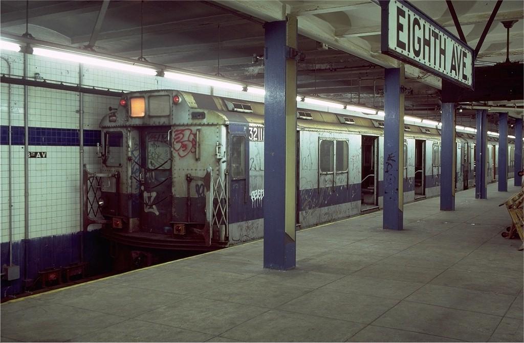 (184k, 1024x671)<br><b>Country:</b> United States<br><b>City:</b> New York<br><b>System:</b> New York City Transit<br><b>Line:</b> BMT Canarsie Line<br><b>Location:</b> 8th Avenue <br><b>Route:</b> LL<br><b>Car:</b> R-10 (American Car & Foundry, 1948) 3211 <br><b>Photo by:</b> Doug Grotjahn<br><b>Collection of:</b> Joe Testagrose<br><b>Date:</b> 11/14/1980<br><b>Viewed (this week/total):</b> 10 / 4353