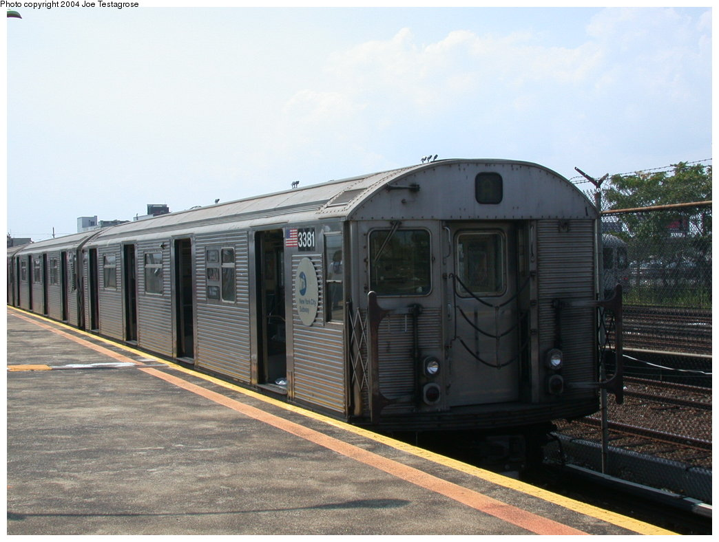 (189k, 1044x788)<br><b>Country:</b> United States<br><b>City:</b> New York<br><b>System:</b> New York City Transit<br><b>Line:</b> IND Rockaway<br><b>Location:</b> Rockaway Park/Beach 116th Street <br><b>Route:</b> A<br><b>Car:</b> R-32 (Budd, 1964)  3381 <br><b>Photo by:</b> Joe Testagrose<br><b>Date:</b> 7/17/2004<br><b>Viewed (this week/total):</b> 0 / 3219