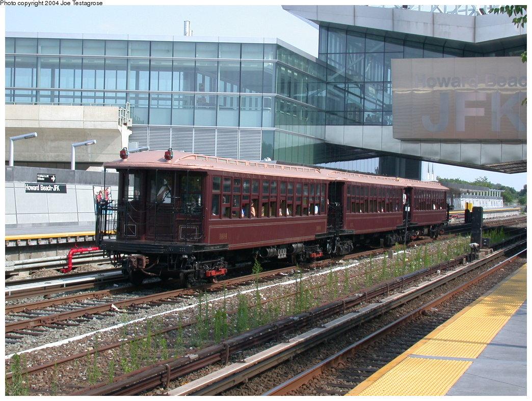 (257k, 1044x788)<br><b>Country:</b> United States<br><b>City:</b> New York<br><b>System:</b> New York City Transit<br><b>Line:</b> IND Rockaway<br><b>Location:</b> Howard Beach <br><b>Route:</b> Fan Trip<br><b>Car:</b> BMT Elevated Gate Car 1404 <br><b>Photo by:</b> Joe Testagrose<br><b>Date:</b> 7/17/2004<br><b>Viewed (this week/total):</b> 1 / 3868