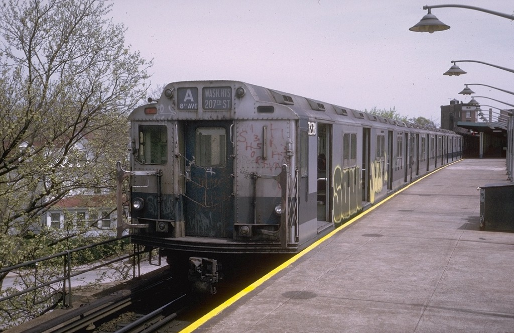 (225k, 1024x663)<br><b>Country:</b> United States<br><b>City:</b> New York<br><b>System:</b> New York City Transit<br><b>Line:</b> IND Rockaway<br><b>Location:</b> Mott Avenue/Far Rockaway <br><b>Route:</b> A<br><b>Car:</b> R-10 (American Car & Foundry, 1948) 3238 <br><b>Photo by:</b> Steve Zabel<br><b>Collection of:</b> Joe Testagrose<br><b>Date:</b> 5/9/1974<br><b>Viewed (this week/total):</b> 0 / 3784