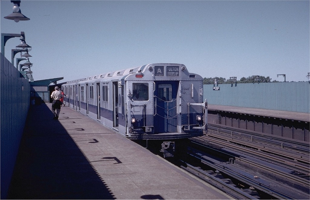 (177k, 1024x662)<br><b>Country:</b> United States<br><b>City:</b> New York<br><b>System:</b> New York City Transit<br><b>Line:</b> IND Fulton Street Line<br><b>Location:</b> 88th Street/Boyd Avenue <br><b>Route:</b> A<br><b>Car:</b> R-10 (American Car & Foundry, 1948) 3275 <br><b>Photo by:</b> Steve Zabel<br><b>Collection of:</b> Joe Testagrose<br><b>Date:</b> 9/10/1972<br><b>Viewed (this week/total):</b> 1 / 3623