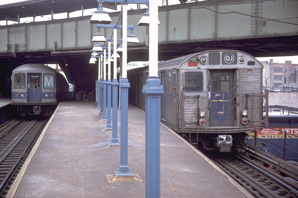 (209k, 1024x681)<br><b>Country:</b> United States<br><b>City:</b> New York<br><b>System:</b> New York City Transit<br><b>Line:</b> BMT Nassau Street/Jamaica Line<br><b>Location:</b> Myrtle Avenue <br><b>Route:</b> QJ<br><b>Car:</b> R-32 (Budd, 1964)  3456 <br><b>Photo by:</b> Doug Grotjahn<br><b>Collection of:</b> Joe Testagrose<br><b>Date:</b> 1/31/1971<br><b>Viewed (this week/total):</b> 4 / 7015