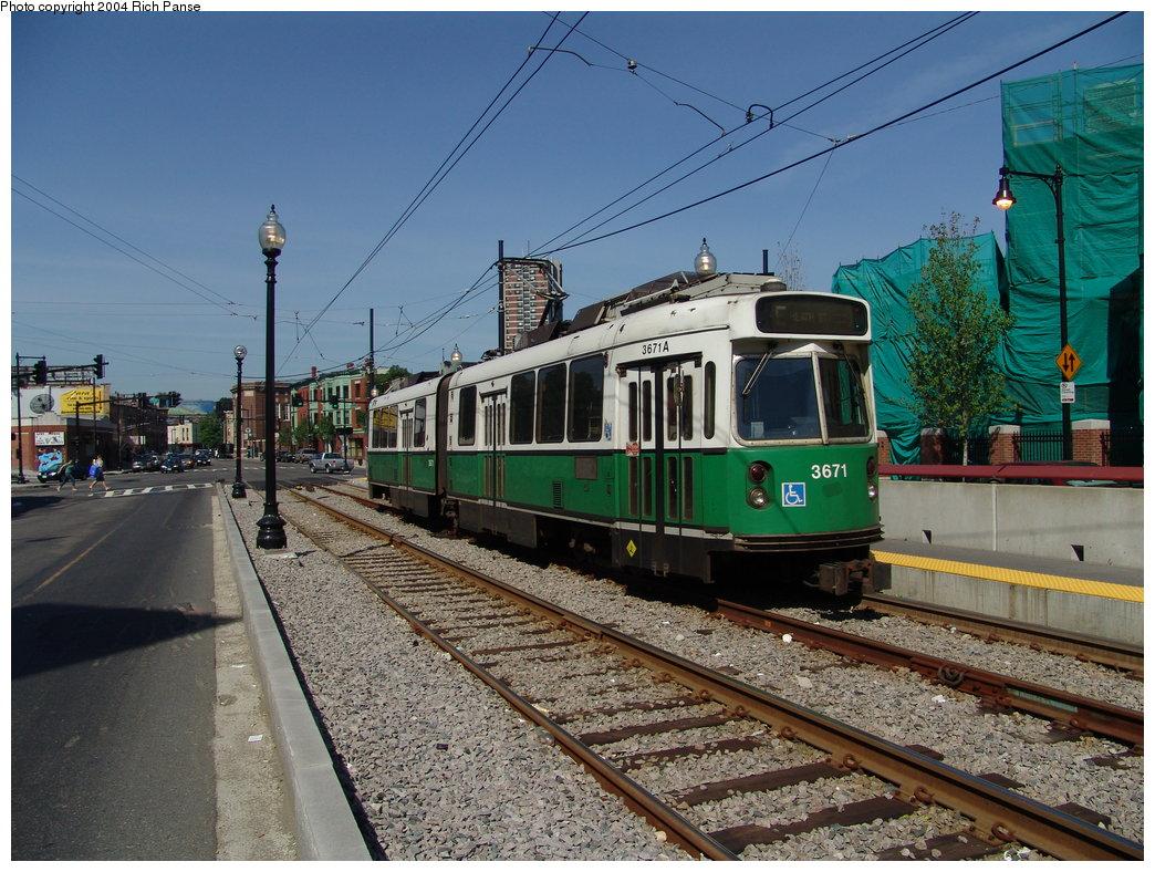 (231k, 1044x788)<br><b>Country:</b> United States<br><b>City:</b> Boston, MA<br><b>System:</b> MBTA<br><b>Line:</b> MBTA Green (E)<br><b>Location:</b> Huntington & Brigham Circle<br><b>Car:</b> MBTA Type 7 LRV (Kinki-Sharyo, 1986-87)  3671 <br><b>Photo by:</b> Richard Panse<br><b>Date:</b> 7/4/2004<br><b>Viewed (this week/total):</b> 0 / 1831