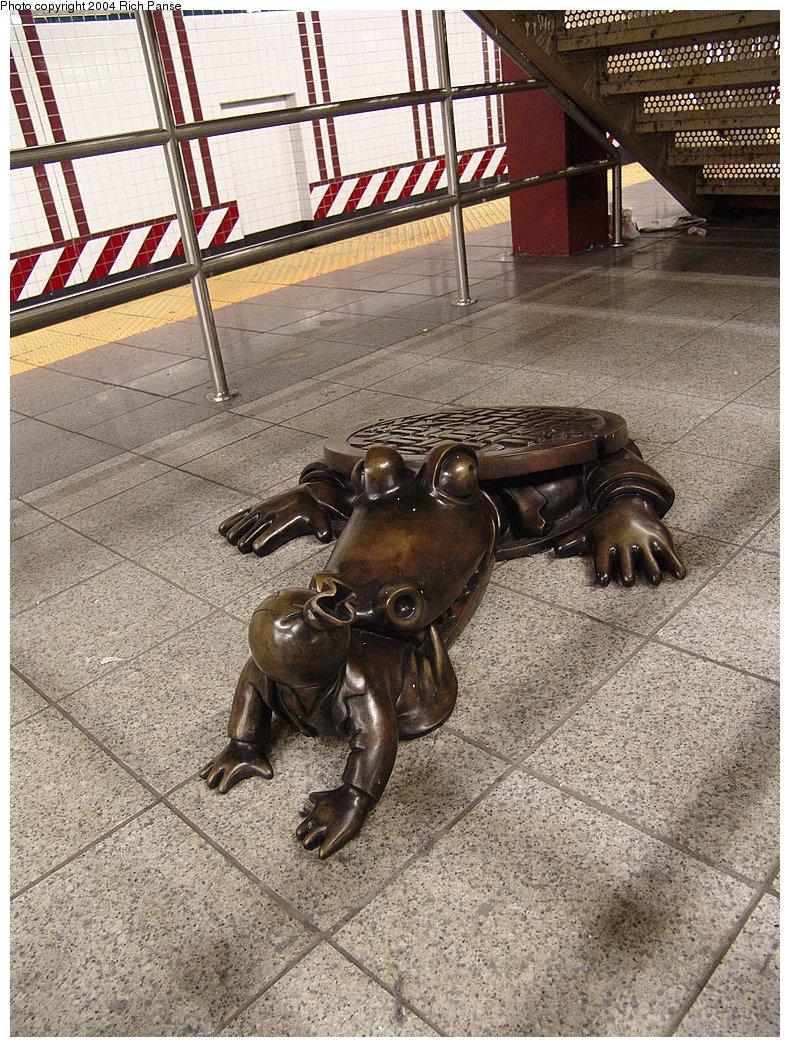 (309k, 790x1047)<br><b>Country:</b> United States<br><b>City:</b> New York<br><b>System:</b> New York City Transit<br><b>Line:</b> BMT Canarsie Line<br><b>Location:</b> 8th Avenue <br><b>Photo by:</b> Richard Panse<br><b>Date:</b> 12/15/2004<br><b>Artwork:</b> <i>Life Underground</i>, Tom Otterness (2000).<br><b>Viewed (this week/total):</b> 4 / 7210
