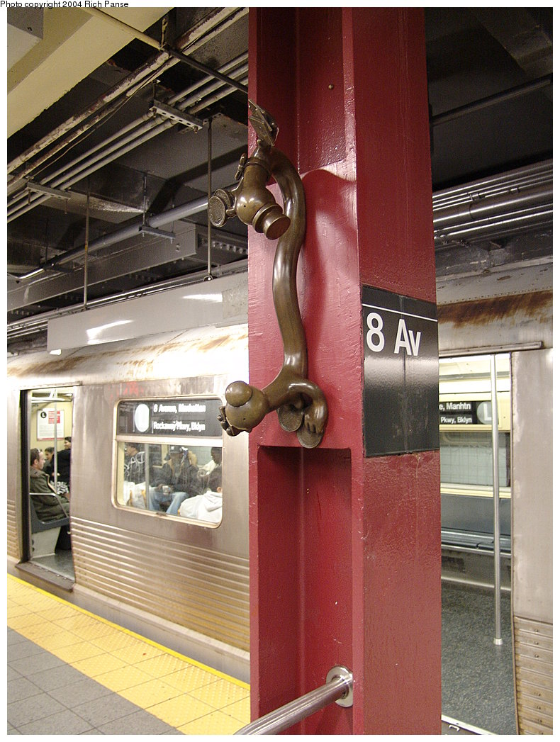(221k, 790x1047)<br><b>Country:</b> United States<br><b>City:</b> New York<br><b>System:</b> New York City Transit<br><b>Line:</b> BMT Canarsie Line<br><b>Location:</b> 8th Avenue <br><b>Photo by:</b> Richard Panse<br><b>Date:</b> 12/15/2004<br><b>Artwork:</b> <i>Life Underground</i>, Tom Otterness (2000).<br><b>Viewed (this week/total):</b> 2 / 3001