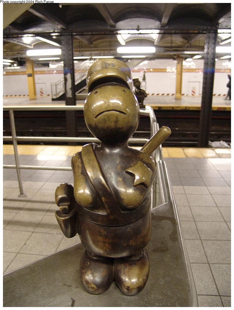 (191k, 790x1047)<br><b>Country:</b> United States<br><b>City:</b> New York<br><b>System:</b> New York City Transit<br><b>Line:</b> IND 8th Avenue Line<br><b>Location:</b> 14th Street <br><b>Photo by:</b> Richard Panse<br><b>Date:</b> 12/15/2004<br><b>Artwork:</b> <i>Life Underground</i>, Tom Otterness (2000).<br><b>Viewed (this week/total):</b> 8 / 6432