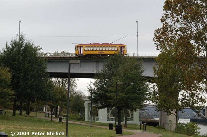 (162k, 720x478)<br><b>Country:</b> United States<br><b>City:</b> Little Rock, AR<br><b>System:</b> Little Rock CAT<br><b>Line:</b> North Little Rock Loop<br><b>Location:</b> Main Street Bridge <br><b>Car:</b>  409 <br><b>Photo by:</b> Peter Ehrlich<br><b>Date:</b> 11/14/2004<br><b>Viewed (this week/total):</b> 0 / 2834