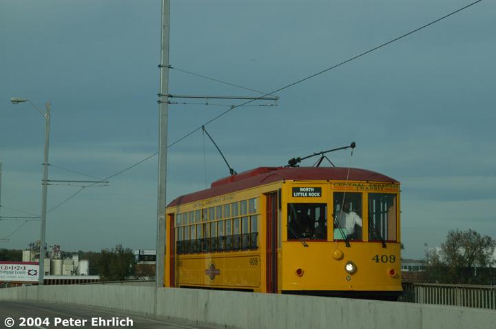 (88k, 720x478)<br><b>Country:</b> United States<br><b>City:</b> Little Rock, AR<br><b>System:</b> Little Rock CAT<br><b>Line:</b> North Little Rock Loop<br><b>Location:</b> Main Street Bridge <br><b>Car:</b>  409 <br><b>Photo by:</b> Peter Ehrlich<br><b>Date:</b> 11/13/2004<br><b>Viewed (this week/total):</b> 1 / 2577