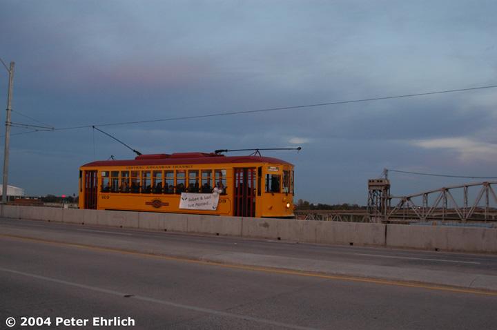 (92k, 720x478)<br><b>Country:</b> United States<br><b>City:</b> Little Rock, AR<br><b>System:</b> Little Rock CAT<br><b>Line:</b> North Little Rock Loop<br><b>Location:</b> Main Street Bridge <br><b>Car:</b>  409 <br><b>Photo by:</b> Peter Ehrlich<br><b>Date:</b> 11/13/2004<br><b>Viewed (this week/total):</b> 2 / 2687