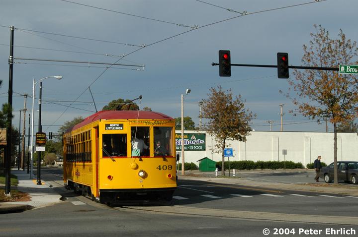 (142k, 720x478)<br><b>Country:</b> United States<br><b>City:</b> Little Rock, AR<br><b>System:</b> Little Rock CAT<br><b>Line:</b> North Little Rock Loop<br><b>Location:</b> Maple/Broadway <br><b>Car:</b>  409 <br><b>Photo by:</b> Peter Ehrlich<br><b>Date:</b> 11/13/2004<br><b>Viewed (this week/total):</b> 1 / 2825