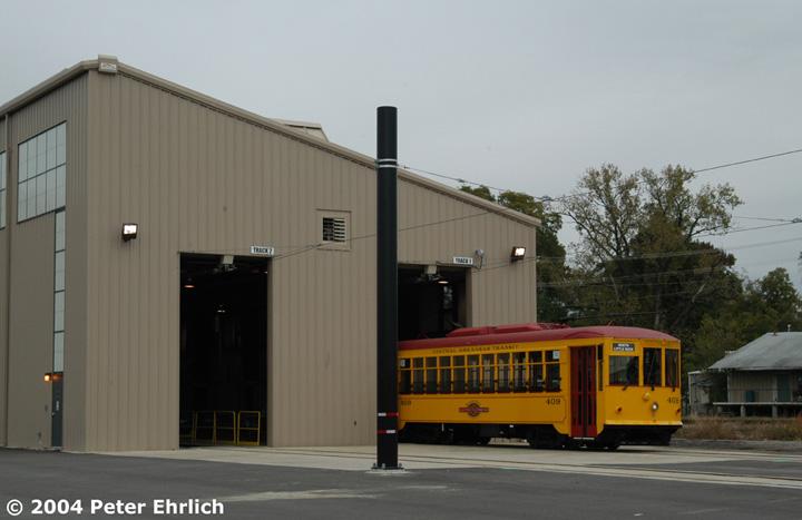 (96k, 720x467)<br><b>Country:</b> United States<br><b>City:</b> Little Rock, AR<br><b>System:</b> Little Rock CAT<br><b>Line:</b> North Little Rock Loop<br><b>Location:</b> 6th & Main Carbarn <br><b>Car:</b>  409 <br><b>Photo by:</b> Peter Ehrlich<br><b>Date:</b> 11/14/2004<br><b>Viewed (this week/total):</b> 0 / 2842