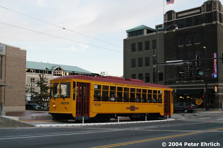 (128k, 720x478)<br><b>Country:</b> United States<br><b>City:</b> Little Rock, AR<br><b>System:</b> Little Rock CAT<br><b>Line:</b> North Little Rock Loop<br><b>Location:</b> Scott/Markham (Chamber of Commerce) <br><b>Car:</b>  409 <br><b>Photo by:</b> Peter Ehrlich<br><b>Date:</b> 11/13/2004<br><b>Viewed (this week/total):</b> 0 / 2975