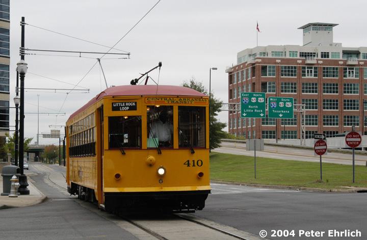 (132k, 720x471)<br><b>Country:</b> United States<br><b>City:</b> Little Rock, AR<br><b>System:</b> Little Rock CAT<br><b>Line:</b> Little Rock Loop<br><b>Location:</b> 2nd Street/Cumberland <br><b>Car:</b>  410 <br><b>Photo by:</b> Peter Ehrlich<br><b>Date:</b> 11/14/2004<br><b>Viewed (this week/total):</b> 2 / 2680