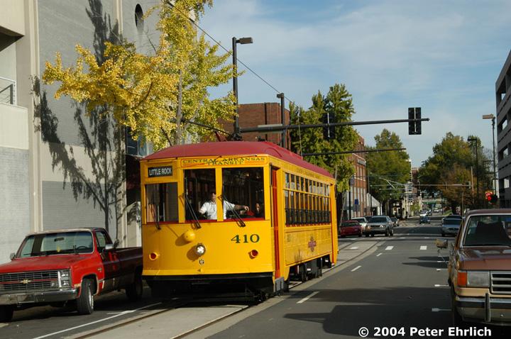 (175k, 720x478)<br><b>Country:</b> United States<br><b>City:</b> Little Rock, AR<br><b>System:</b> Little Rock CAT<br><b>Line:</b> Little Rock Loop<br><b>Location:</b> 2nd Street/Main <br><b>Car:</b>  410 <br><b>Photo by:</b> Peter Ehrlich<br><b>Date:</b> 11/13/2004<br><b>Viewed (this week/total):</b> 4 / 2585