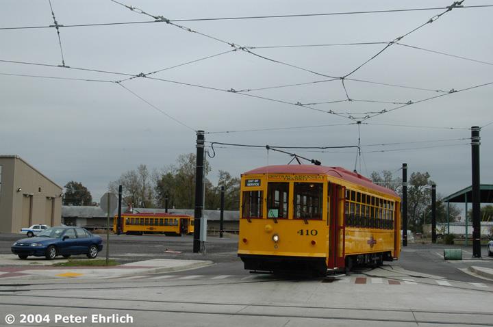 (109k, 720x478)<br><b>Country:</b> United States<br><b>City:</b> Little Rock, AR<br><b>System:</b> Little Rock CAT<br><b>Line:</b> North Little Rock Loop<br><b>Location:</b> 6th & Main Carbarn <br><b>Car:</b>  410/409 <br><b>Photo by:</b> Peter Ehrlich<br><b>Date:</b> 11/14/2004<br><b>Viewed (this week/total):</b> 1 / 2881