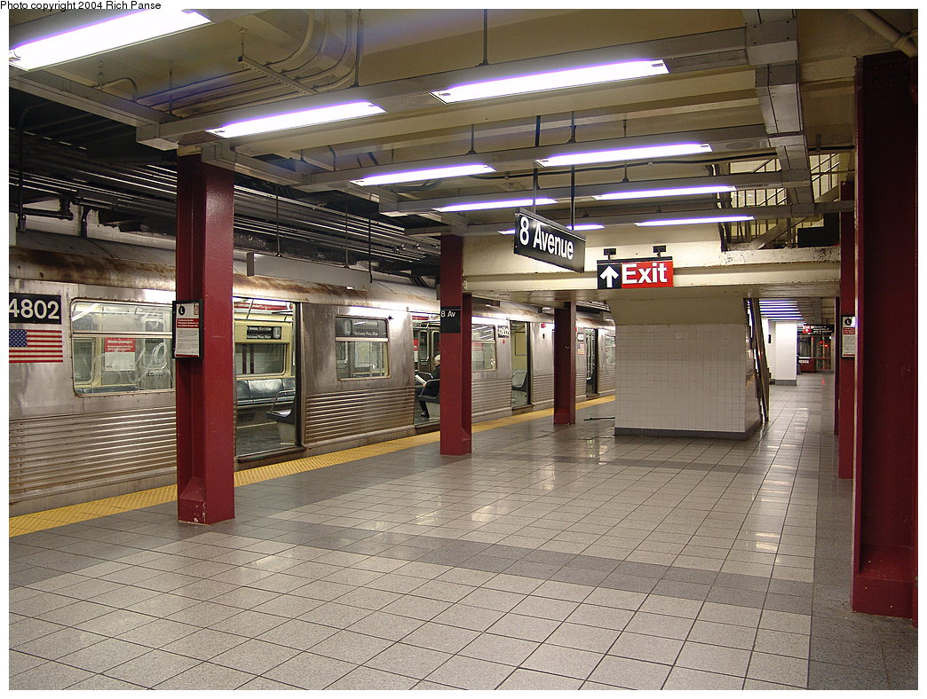 (242k, 1044x788)<br><b>Country:</b> United States<br><b>City:</b> New York<br><b>System:</b> New York City Transit<br><b>Line:</b> BMT Canarsie Line<br><b>Location:</b> 8th Avenue <br><b>Route:</b> L<br><b>Car:</b> R-42 (St. Louis, 1969-1970)  4802 <br><b>Photo by:</b> Richard Panse<br><b>Date:</b> 12/15/2004<br><b>Viewed (this week/total):</b> 0 / 4686