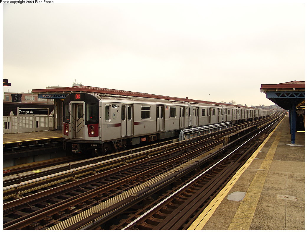 (207k, 1044x788)<br><b>Country:</b> United States<br><b>City:</b> New York<br><b>System:</b> New York City Transit<br><b>Line:</b> IRT Pelham Line<br><b>Location:</b> Zerega Avenue <br><b>Route:</b> 6<br><b>Car:</b> R-142A (Primary Order, Kawasaki, 1999-2002)  7550 <br><b>Photo by:</b> Richard Panse<br><b>Date:</b> 12/19/2004<br><b>Viewed (this week/total):</b> 0 / 3489