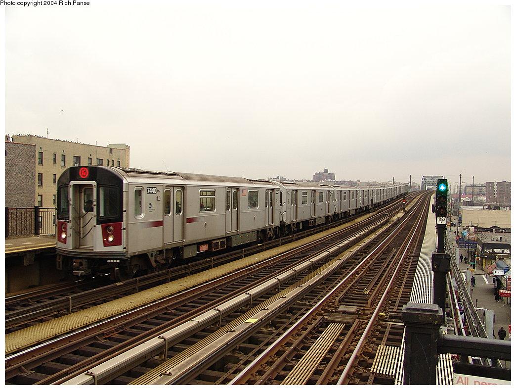 (214k, 1044x788)<br><b>Country:</b> United States<br><b>City:</b> New York<br><b>System:</b> New York City Transit<br><b>Line:</b> IRT Pelham Line<br><b>Location:</b> Elder Avenue <br><b>Route:</b> 6<br><b>Car:</b> R-142A (Primary Order, Kawasaki, 1999-2002)  7440 <br><b>Photo by:</b> Richard Panse<br><b>Date:</b> 12/19/2004<br><b>Viewed (this week/total):</b> 0 / 3740
