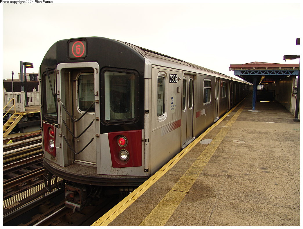 (223k, 1044x788)<br><b>Country:</b> United States<br><b>City:</b> New York<br><b>System:</b> New York City Transit<br><b>Line:</b> IRT Pelham Line<br><b>Location:</b> Zerega Avenue <br><b>Route:</b> 6<br><b>Car:</b> R-142A (Primary Order, Kawasaki, 1999-2002)  7306 <br><b>Photo by:</b> Richard Panse<br><b>Date:</b> 12/19/2004<br><b>Viewed (this week/total):</b> 0 / 4086