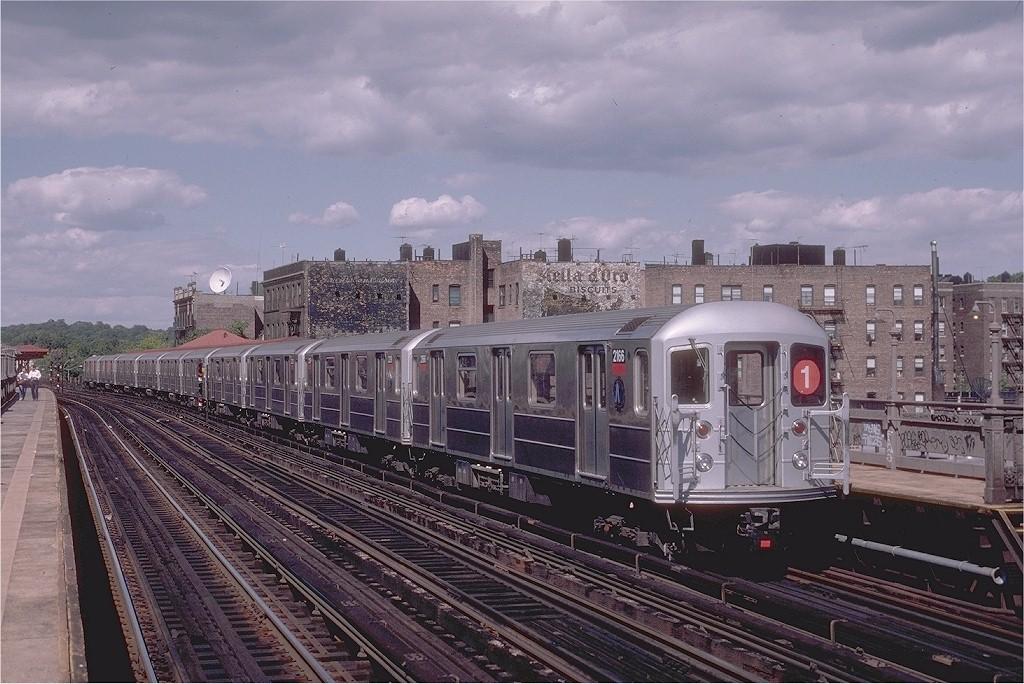 (214k, 1024x684)<br><b>Country:</b> United States<br><b>City:</b> New York<br><b>System:</b> New York City Transit<br><b>Line:</b> IRT West Side Line<br><b>Location:</b> 238th Street <br><b>Route:</b> 1<br><b>Car:</b> R-62A (Bombardier, 1984-1987)  2166 <br><b>Photo by:</b> Eric Oszustowicz<br><b>Collection of:</b> Joe Testagrose<br><b>Date:</b> 8/23/1987<br><b>Viewed (this week/total):</b> 0 / 4688