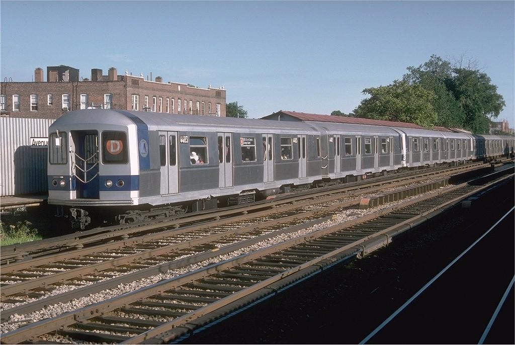 (227k, 1024x686)<br><b>Country:</b> United States<br><b>City:</b> New York<br><b>System:</b> New York City Transit<br><b>Line:</b> BMT Brighton Line<br><b>Location:</b> Avenue M <br><b>Route:</b> D<br><b>Car:</b> R-40M (St. Louis, 1969)  4483 (ex-4283)<br><b>Photo by:</b> Doug Grotjahn<br><b>Collection of:</b> Joe Testagrose<br><b>Date:</b> 7/23/1977<br><b>Viewed (this week/total):</b> 5 / 3995