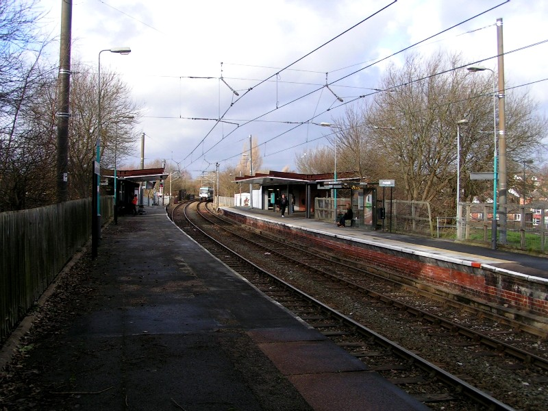 (162k, 800x600)<br><b>Country:</b> United Kingdom<br><b>City:</b> Manchester<br><b>System:</b> Metrolink <br><b>Line:</b> Bury line<br><b>Location:</b> Prestwich <br><b>Photo by:</b> Tim Deakin<br><b>Date:</b> 1/12/2005<br><b>Notes:</b> In common with most stations this shows the British Rail heritage of the line.<br><b>Viewed (this week/total):</b> 0 / 1594