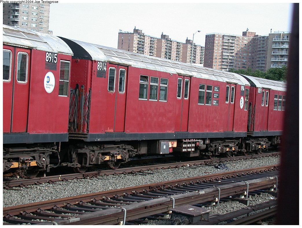 (266k, 1044x788)<br><b>Country:</b> United States<br><b>City:</b> New York<br><b>System:</b> New York City Transit<br><b>Location:</b> Coney Island Yard<br><b>Car:</b> R-33 Main Line (St. Louis, 1962-63) 8914 <br><b>Photo by:</b> Joe Testagrose<br><b>Date:</b> 7/25/2004<br><b>Viewed (this week/total):</b> 0 / 3324