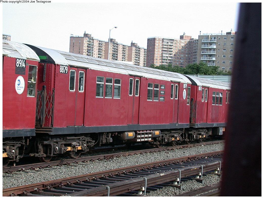 (235k, 1044x788)<br><b>Country:</b> United States<br><b>City:</b> New York<br><b>System:</b> New York City Transit<br><b>Location:</b> Coney Island Yard<br><b>Car:</b> R-33 Main Line (St. Louis, 1962-63) 8879 <br><b>Photo by:</b> Joe Testagrose<br><b>Date:</b> 7/25/2004<br><b>Viewed (this week/total):</b> 0 / 3104