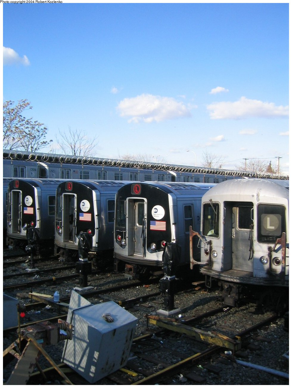 (215k, 980x1300)<br><b>Country:</b> United States<br><b>City:</b> New York<br><b>System:</b> New York City Transit<br><b>Location:</b> Rockaway Parkway (Canarsie) Yard<br><b>Car:</b> R-143 (Kawasaki, 2001-2002)  <br><b>Photo by:</b> Robert Kozlenko<br><b>Date:</b> 11/26/2004<br><b>Viewed (this week/total):</b> 1 / 4827