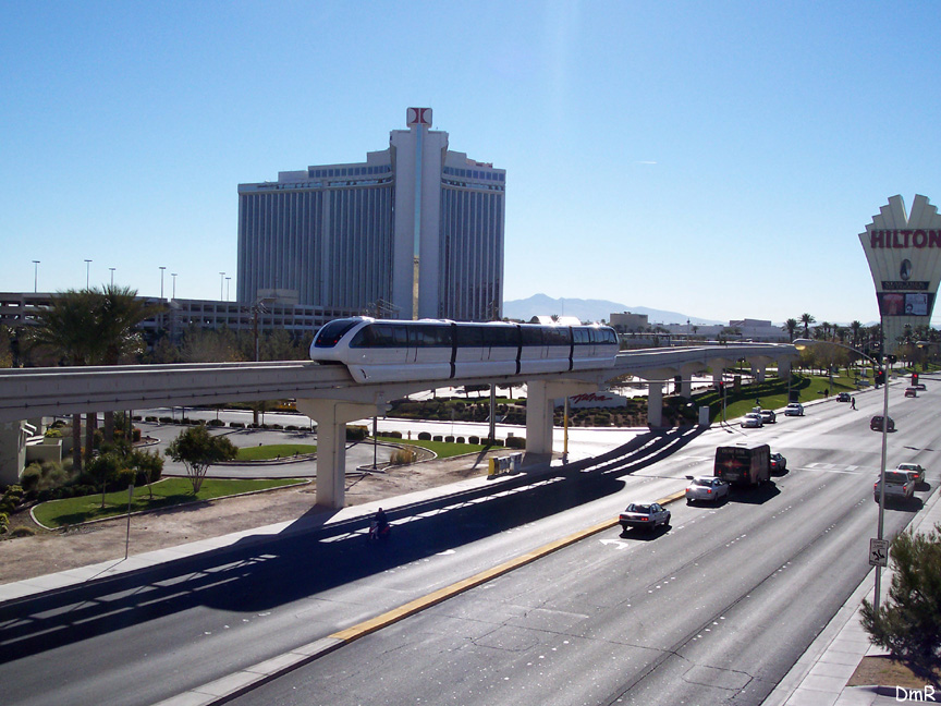 (216k, 864x648)<br><b>Country:</b> United States<br><b>City:</b> Las Vegas, NV<br><b>System:</b> Las Vegas Monorail<br><b>Location:</b> Las Vegas Hilton <br><b>Photo by:</b> D. Reinecke<br><b>Date:</b> 1/13/2005<br><b>Notes:</b> White train on trackway heading to Hilton<br><b>Viewed (this week/total):</b> 1 / 3851