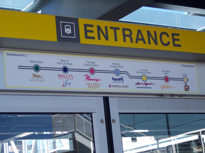 (186k, 864x648)<br><b>Country:</b> United States<br><b>City:</b> Las Vegas, NV<br><b>System:</b> Las Vegas Monorail<br><b>Location:</b> Sahara<br><b>Photo by:</b> D. Reinecke<br><b>Date:</b> 1/13/2005<br><b>Notes:</b> Route map over door on platform<br><b>Viewed (this week/total):</b> 2 / 3625