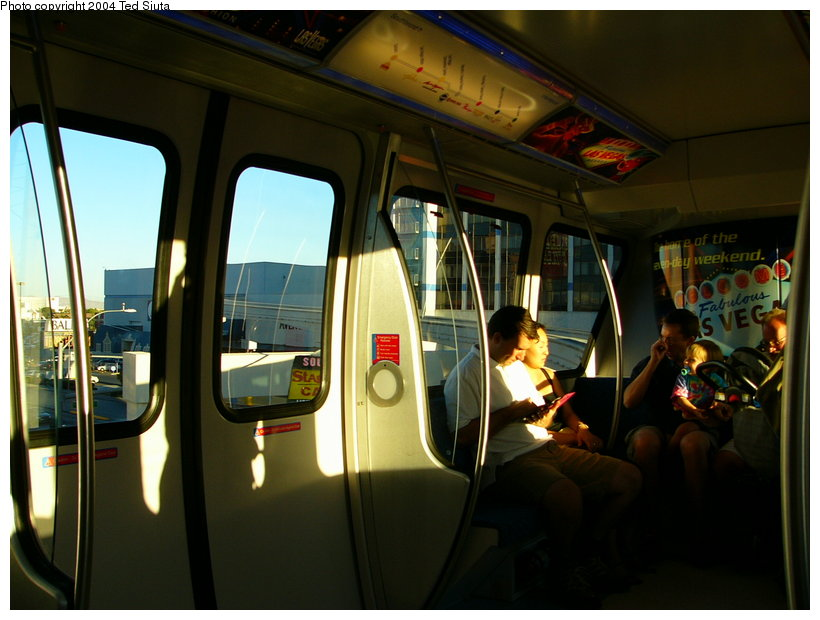(109k, 820x620)<br><b>Country:</b> United States<br><b>City:</b> Las Vegas, NV<br><b>System:</b> Las Vegas Monorail<br><b>Location:</b> Monorail interior view. <br><b>Photo by:</b> Ted Siuta<br><b>Date:</b> 8/27/2004<br><b>Viewed (this week/total):</b> 3 / 3726