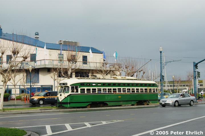 (141k, 720x478)<br><b>Country:</b> United States<br><b>City:</b> San Francisco/Bay Area, CA<br><b>System:</b> SF MUNI<br><b>Location:</b> Embarcadero/Pier 39 <br><b>Car:</b> SF MUNI PCC (Ex-SEPTA) (St. Louis Car Co., 1947-1948)  1062 <br><b>Photo by:</b> Peter Ehrlich<br><b>Date:</b> 12/31/2004<br><b>Viewed (this week/total):</b> 0 / 912