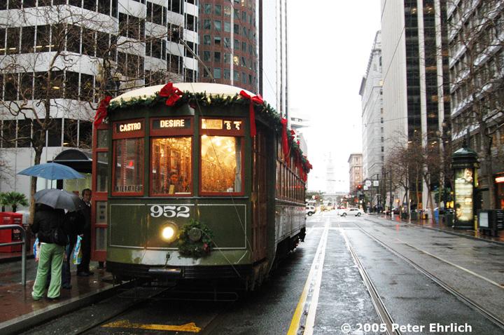 (204k, 720x478)<br><b>Country:</b> United States<br><b>City:</b> San Francisco/Bay Area, CA<br><b>System:</b> SF MUNI<br><b>Location:</b> Market/1st <br><b>Car:</b> New Orleans Public Service (Perley A. Thomas Car Works, 1924) 952 <br><b>Photo by:</b> Peter Ehrlich<br><b>Date:</b> 12/31/2004<br><b>Viewed (this week/total):</b> 0 / 842