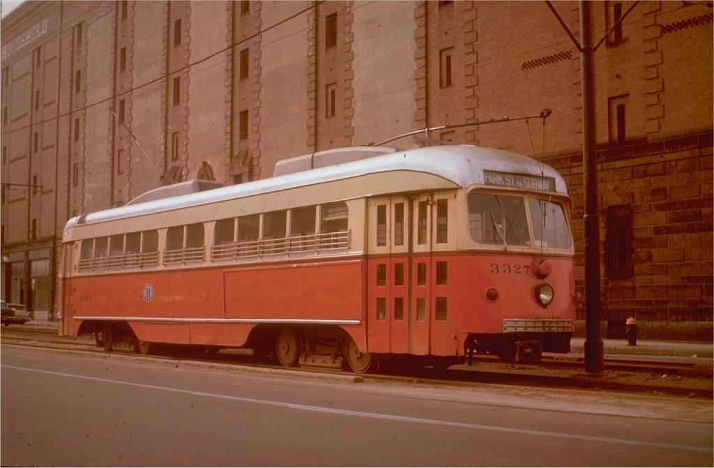 (155k, 1024x671)<br><b>Country:</b> United States<br><b>City:</b> Boston, MA<br><b>System:</b> MBTA<br><b>Line:</b> MBTA Green (E)<br><b>Location:</b> Huntington & Northeastern<br><b>Car:</b> MBTA/BSRy PCC Dallas Double End (Pullman-Standard, 1945)  3327 <br><b>Collection of:</b> Joe Testagrose<br><b>Notes:</b> Former Dallas Railway & Terminal 622<br><b>Viewed (this week/total):</b> 0 / 2085