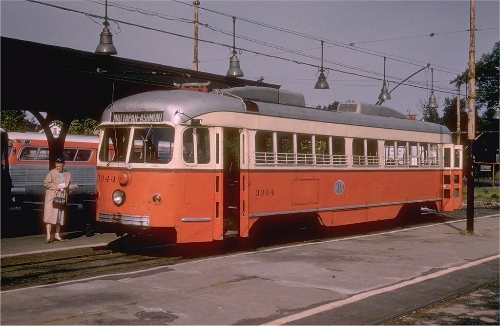 (184k, 1024x669)<br><b>Country:</b> United States<br><b>City:</b> Boston, MA<br><b>System:</b> MBTA<br><b>Line:</b> MBTA Mattapan-Ashmont Line<br><b>Location:</b> Mattapan <br><b>Car:</b> MBTA/BSRy PCC Dallas Double End (Pullman-Standard, 1945)  3344 <br><b>Photo by:</b> Hal Greenwald<br><b>Collection of:</b> Joe Testagrose<br><b>Date:</b> 9/23/1962<br><b>Notes:</b> Former Dallas Railway & Terminal.<br><b>Viewed (this week/total):</b> 4 / 2973