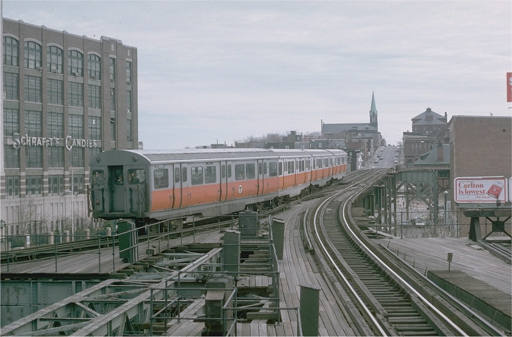 (189k, 1024x675)<br><b>Country:</b> United States<br><b>City:</b> Boston, MA<br><b>System:</b> MBTA<br><b>Line:</b> MBTA Orange Line - Former Elevated<br><b>Location:</b> Sullivan Square (Main Line El)<br><b>Car:</b> MBTA 01100 Series (Pullman-Standard, 1957) 01101 <br><b>Photo by:</b> Steve Zabel<br><b>Collection of:</b> Joe Testagrose<br><b>Date:</b> 3/29/1975<br><b>Viewed (this week/total):</b> 0 / 6521