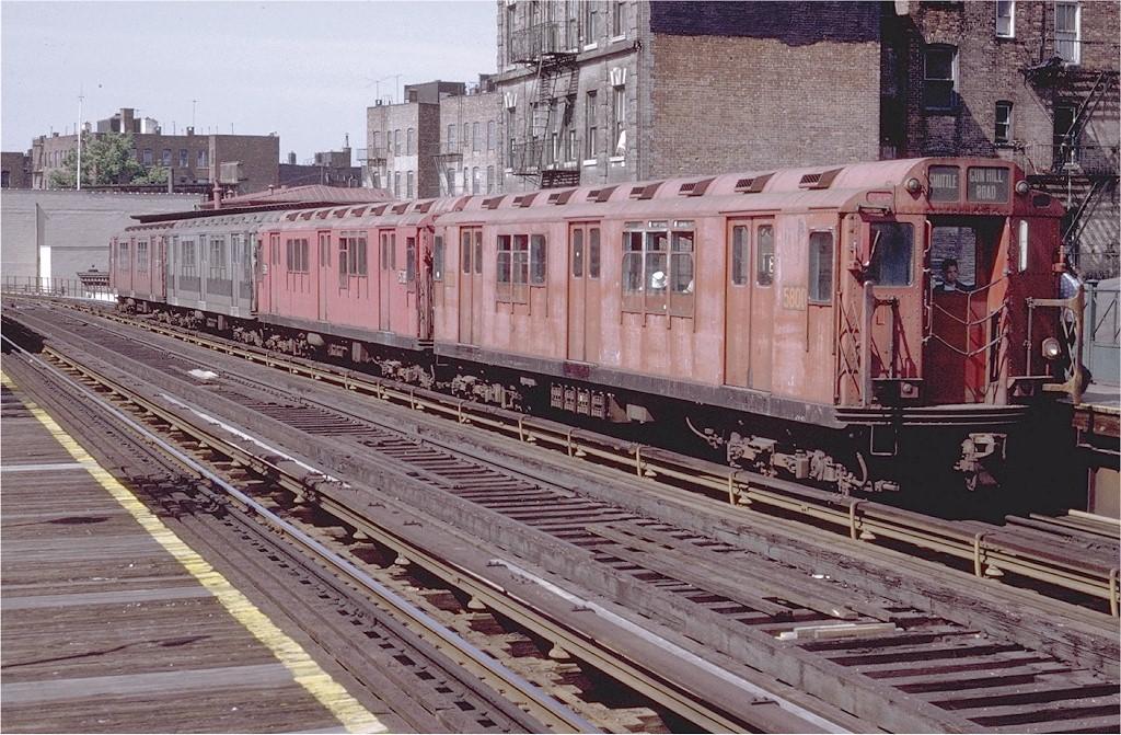 (266k, 1024x671)<br><b>Country:</b> United States<br><b>City:</b> New York<br><b>System:</b> New York City Transit<br><b>Line:</b> 3rd Avenue El<br><b>Location:</b> 180th Street <br><b>Route:</b> 8<br><b>Car:</b> R-12 (American Car & Foundry, 1948) 5800 <br><b>Photo by:</b> Doug Grotjahn<br><b>Collection of:</b> Joe Testagrose<br><b>Date:</b> 6/5/1971<br><b>Viewed (this week/total):</b> 4 / 3947