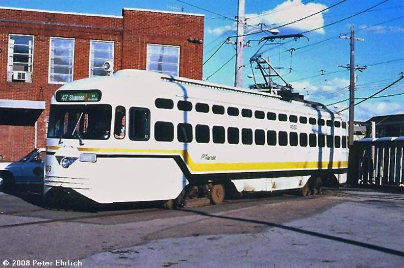 (168k, 792x526)<br><b>Country:</b> United States<br><b>City:</b> Pittsburgh, PA<br><b>System:</b> PAT <br><b>Line:</b> Beechview <br><b>Location:</b> Castle Shannon <br><b>Route:</b> 47<br><b>Car:</b> Pittsburgh Railways/PAT PCC 4003 <br><b>Photo by:</b> Peter Ehrlich<br><b>Date:</b> 10/25/1988<br><b>Viewed (this week/total):</b> 1 / 1661
