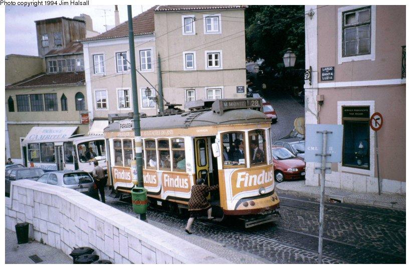 (106k, 820x537)<br><b>Country:</b> Portugal<br><b>City:</b> Lisbon<br><b>System:</b> Companhia Carris De Ferro De Lisboa <br><b>Line:</b> 28 (Alfama via Martim Moniz - Prazares) <br><b>Location:</b> Castelo - Largo Santa Luzia<br><b>Car:</b> Standard Tram (Carris, 1936-1940)  728 <br><b>Photo by:</b> Jim Halsall<br><b>Date:</b> 5/6/1994<br><b>Viewed (this week/total):</b> 4 / 787