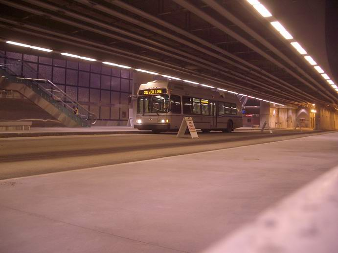 (74k, 691x518)<br><b>Country:</b> United States<br><b>City:</b> Boston, MA<br><b>System:</b> MBTA Boston<br><b>Line:</b> MBTA Silver Line (Phase II)<br><b>Location:</b> Courthouse<br><b>Car:</b> MBTA Trolleybus  <br><b>Photo by:</b> Jon Winslow<br><b>Date:</b> 2/7/2005<br><b>Notes:</b> 40-foot electric trolley bus<br><b>Viewed (this week/total):</b> 1 / 4705