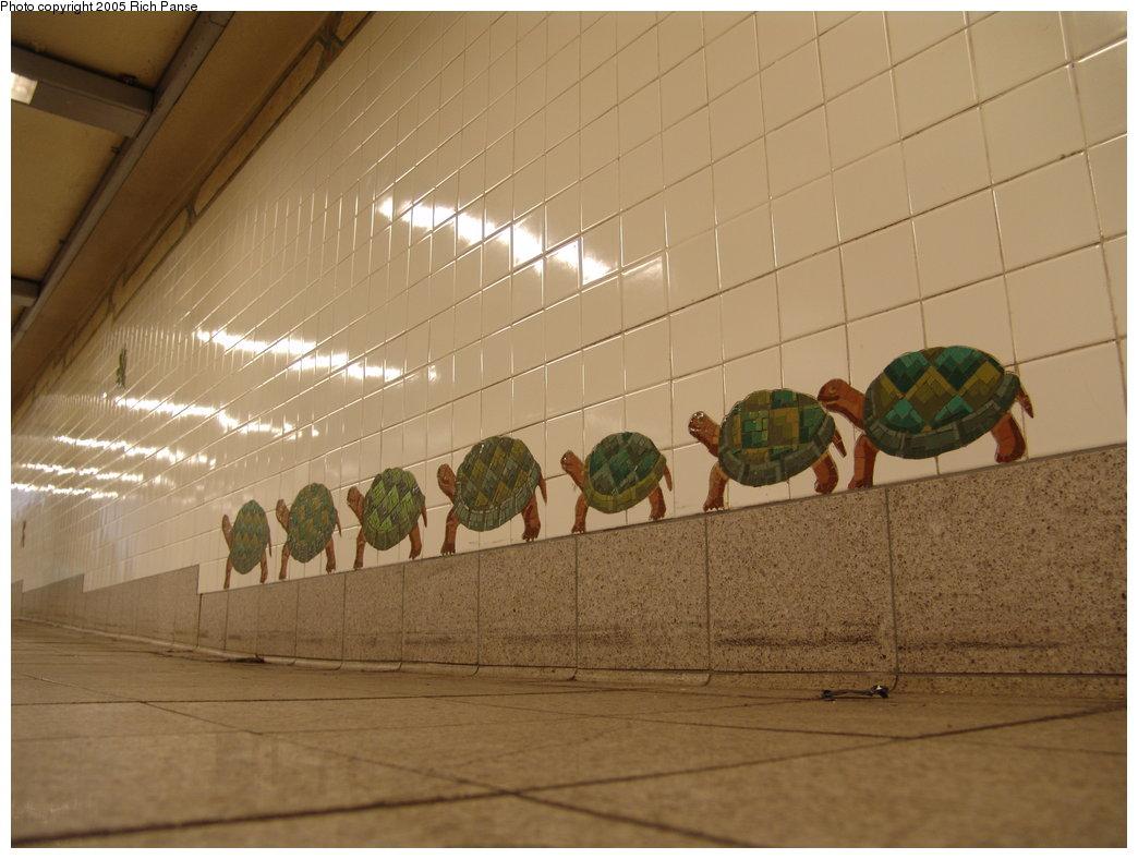 (152k, 1044x788)<br><b>Country:</b> United States<br><b>City:</b> New York<br><b>System:</b> New York City Transit<br><b>Line:</b> BMT Broadway Line<br><b>Location:</b> 5th Avenue <br><b>Photo by:</b> Richard Panse<br><b>Date:</b> 2/22/2005<br><b>Artwork:</b> <i>Urban Oasis</i>, Ann Schaumburger (1997).<br><b>Notes:</b> Art installation, turtles panel.<br><b>Viewed (this week/total):</b> 5 / 3713