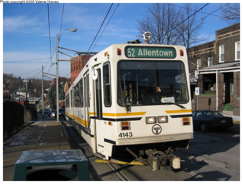 (142k, 820x620)<br><b>Country:</b> United States<br><b>City:</b> Pittsburgh, PA<br><b>System:</b> PAT <br><b>Line:</b> PAT Allentown Line<br><b>Location:</b> Warrington Ave. <br><b>Route:</b> 52-Allentown<br><b>Car:</b> Pittsburgh Siemens LRV 4143 <br><b>Photo by:</b> Valerie Harvey<br><b>Date:</b> 2/11/2005<br><b>Notes:</b> Stop inbound toward downtown.<br><b>Viewed (this week/total):</b> 3 / 2468