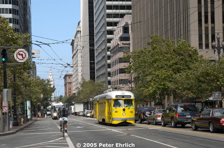 (191k, 720x478)<br><b>Country:</b> United States<br><b>City:</b> San Francisco/Bay Area, CA<br><b>System:</b> SF MUNI<br><b>Location:</b> Market/Sansome/Sutter <br><b>Car:</b> SF MUNI PCC (Ex-SEPTA) (St. Louis Car Co., 1947-1948)  1063 <br><b>Photo by:</b> Peter Ehrlich<br><b>Date:</b> 8/14/2002<br><b>Viewed (this week/total):</b> 0 / 1198